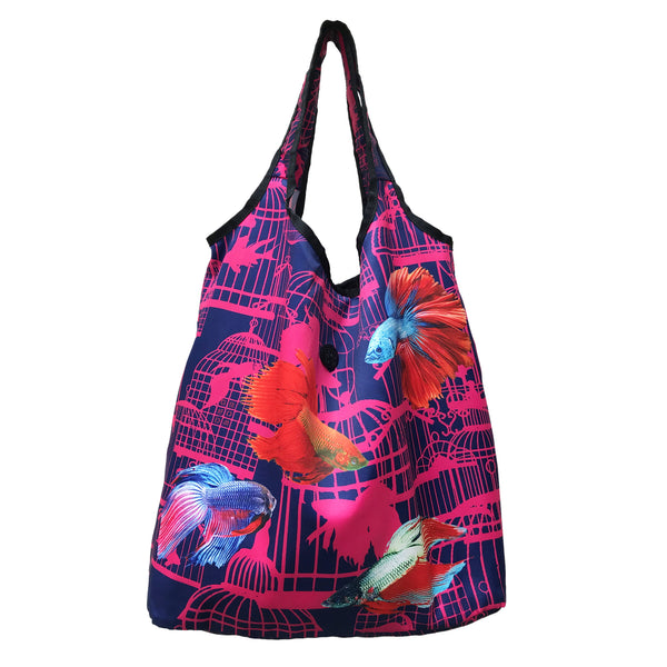 'Siamese Fighting Fish' foldable shopping bag with button