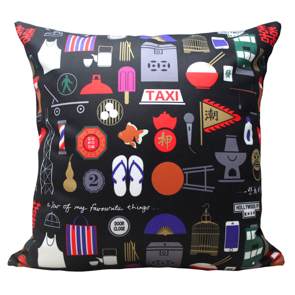 'Hong Kong Favourite Things' cushion cover (45 x 45 cm), Homeware, Goods of Desire, Goods of Desire