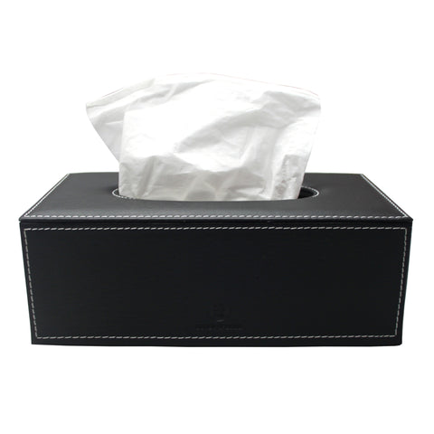 Leatherette tissue box holder (Black)