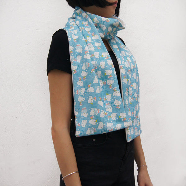 'Hello Kitty x G.O.D. Hong Kong Playtime' Cotton Scarf in Baby Blue
