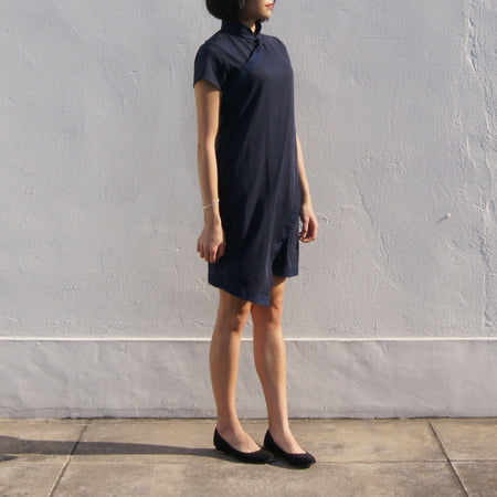 Silk & Cotton Blended High Low Cheongsam, Blue