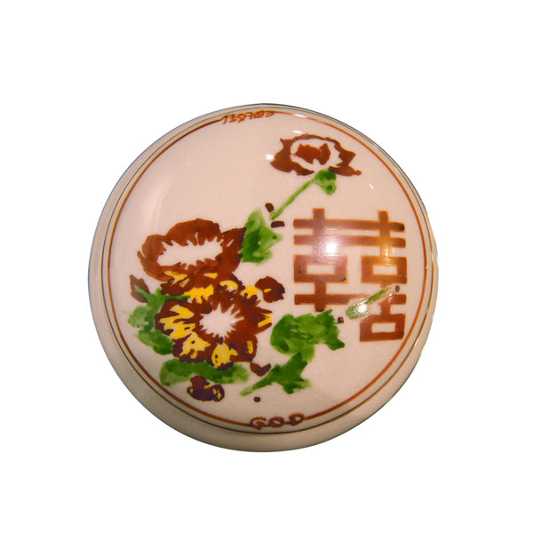 'Floral Double Happiness' handpainted round box