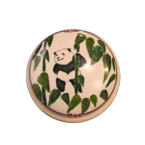 'Panda Bamboo' Hand Painted Round Box