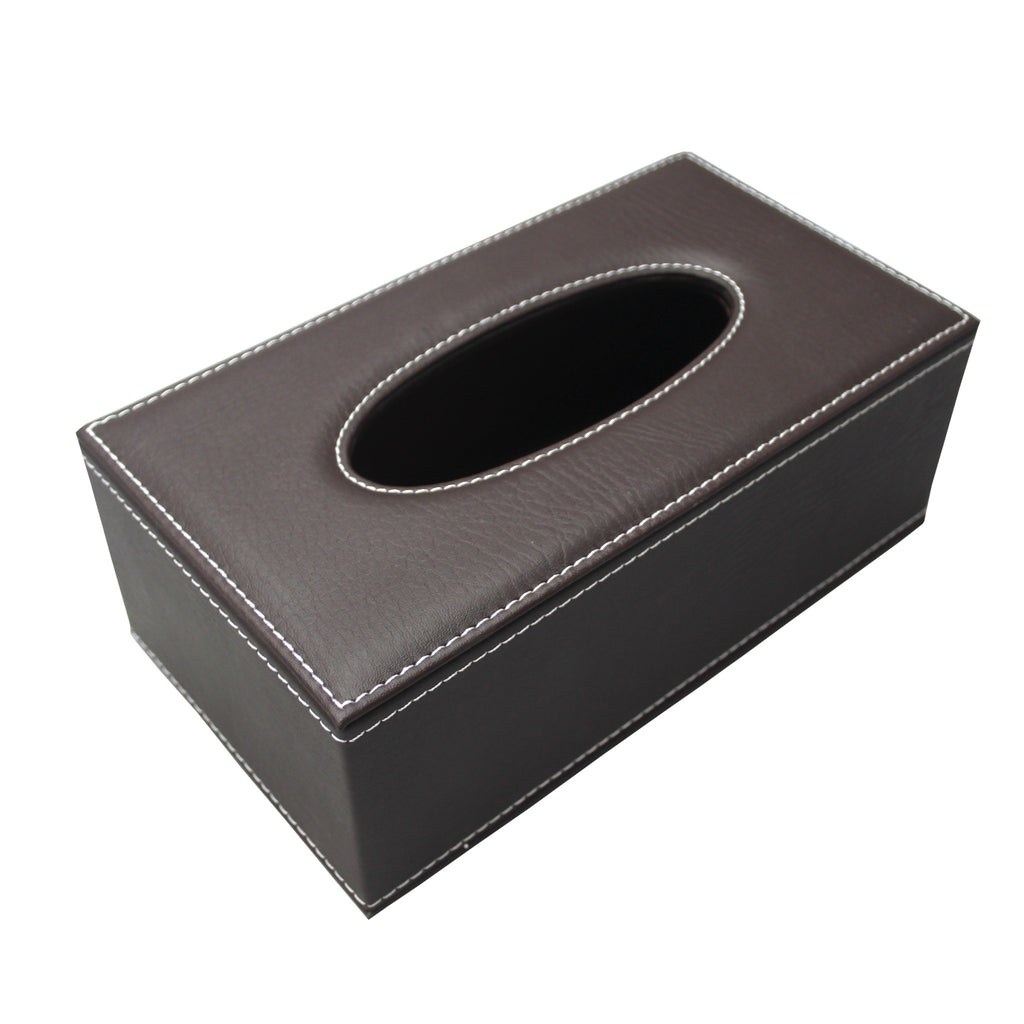 Leatherette tissue box holder (Brown)