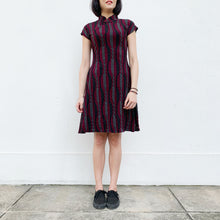 Load image into Gallery viewer, 'Burgundy Irregular stripes' Jacquard Qipao Dress