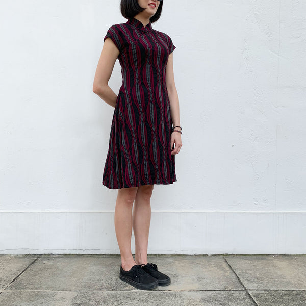 'Burgundy Irregular stripes' Jacquard Qipao Dress