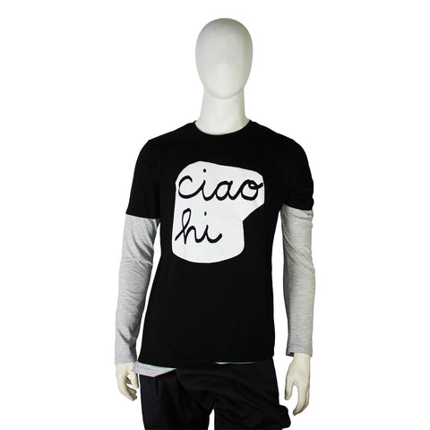 'Ciao Hi' double layered long sleeve tee