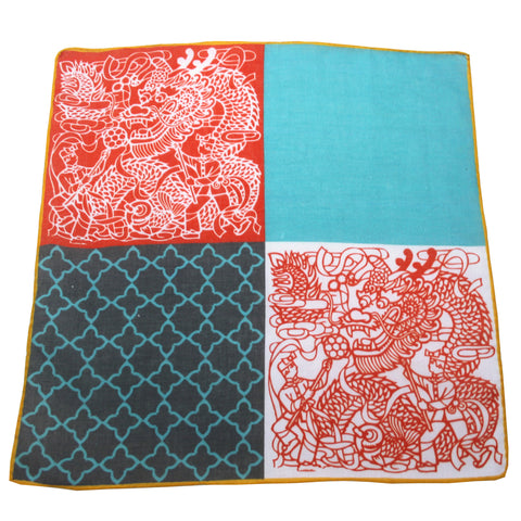 'Lion Dance' cotton pocket square