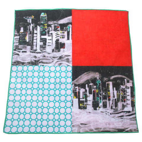 'Skyline' cotton pocket square