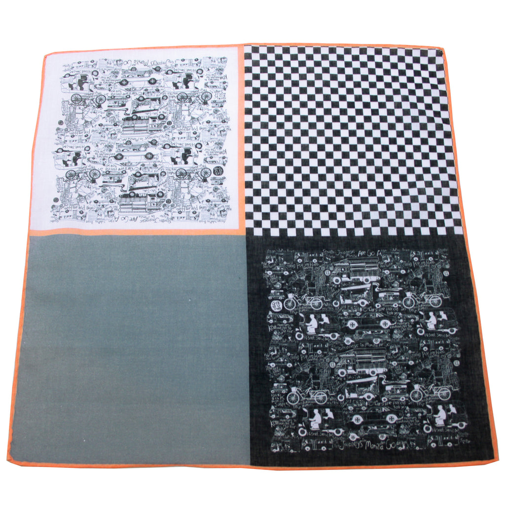 'Jalopy' cotton pocket square