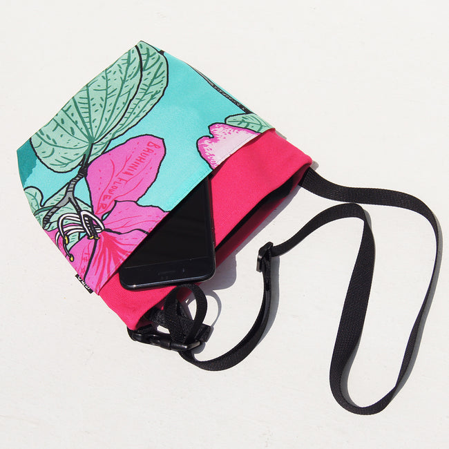 'Bauhinia' (Turquoise) Two-way crossbody and waist bag