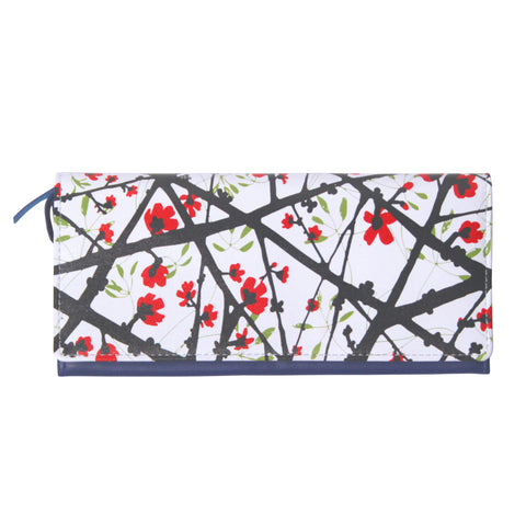 'Cotton Tree' printed leather long wallet with button closure