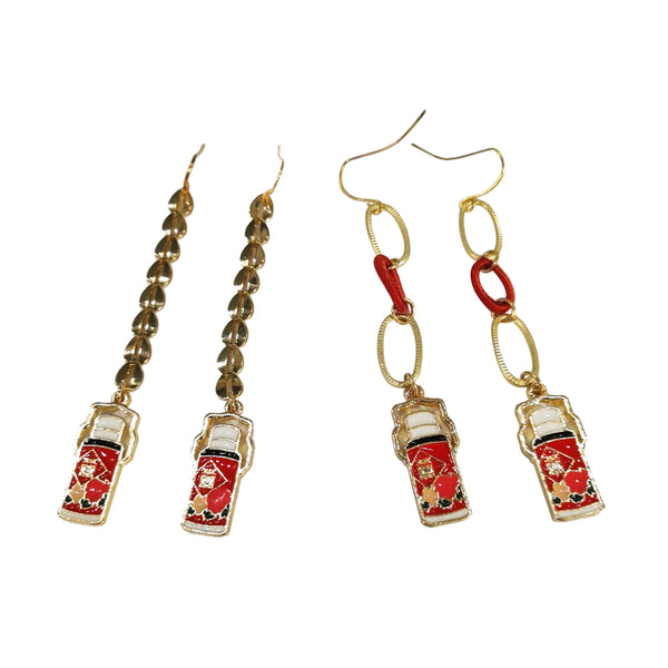 Red Thermos Flasks Earrings