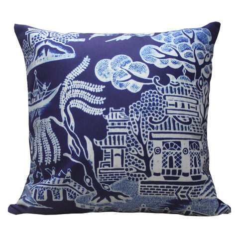 'Chinese Garden' double sided cushion cover (Aubergine) (45 x 45 cm) - Goods of Desire