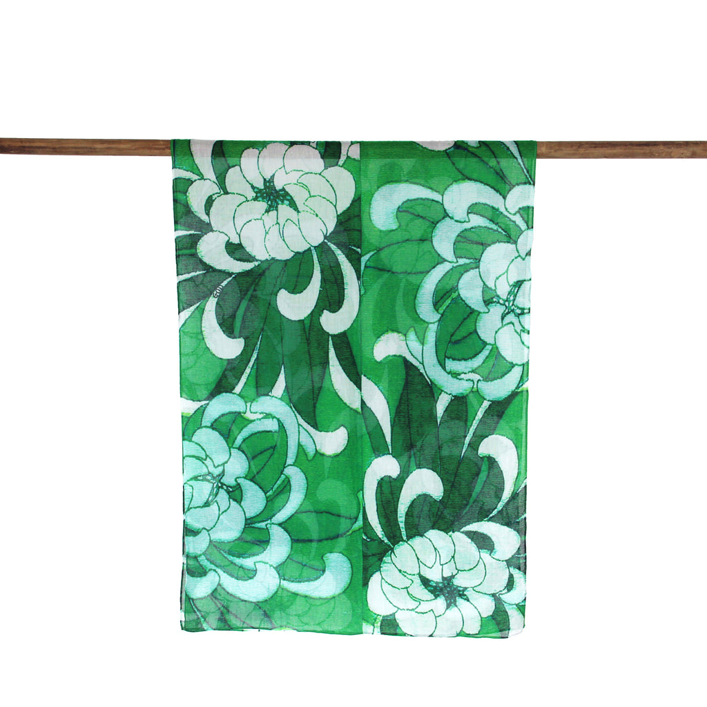 'Chrysanthemums' cotton scarf (green) - Goods of Desire
