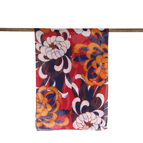 'Chrysanthemums' cotton scarf (red) - Goods of Desire