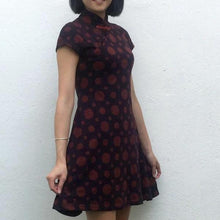 Load image into Gallery viewer, 'Yung Chung' printed qipao (coin dots - burgundy)