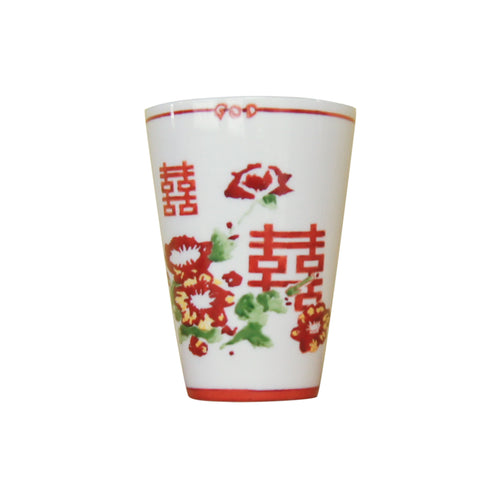 'Floral Double Happiness' Hand Painted Tumbler