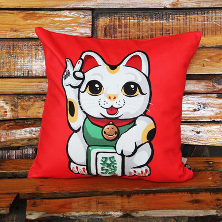 'Lucky Cat - I Say No Evil' cushion cover
