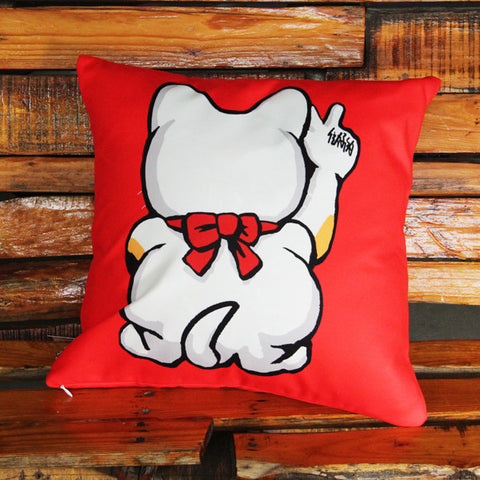 'Lucky Cat' double sided cushion cover (45 x 45 cm)