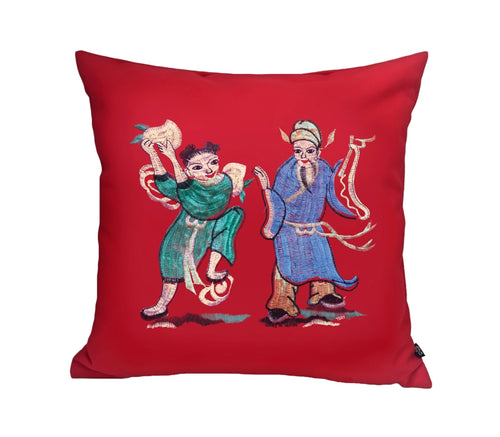 'Eight Immortals' cushion cover (Cao Gou Jiu & Lan Caihe)