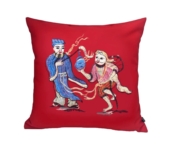 EIGHT IMMORTALS cushion cover (Red) 45x45cm, Li Tie Guai & Lu Dongbin