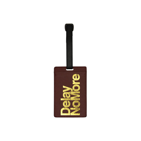 'Delay No More' luggage tag and card holder (brown and gold)
