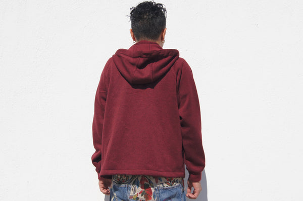 Chinese Collar Hooded Jacket, Dark Red Fleece