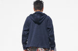 Chinese Collar Hooded Jacket, Navy Blue Fleece