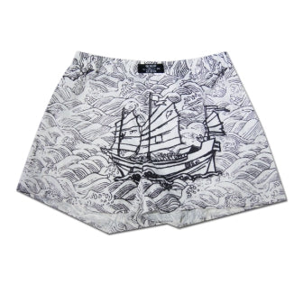 'Junk Ship' Men Boxer Shorts, Black/White