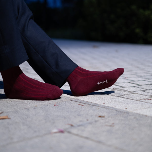 Playful Socks, Wine Red