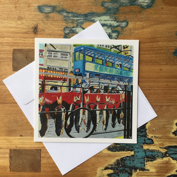 Des Voeux Road West Greeting Card by Fabienne Veryepe