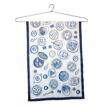 'Striped Fans' silk chiffon scarf