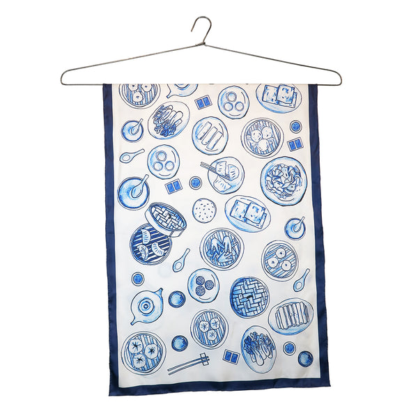 'Dim Sum Table' silk scarf (small)