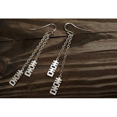 Double Happiness Double Chain Drop Earring (1pc) by Silversmith