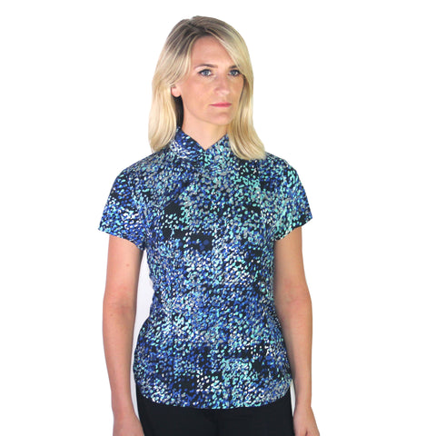 Jersey Mui Jai Top (Blue/Black dots)