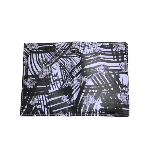 'Goldfish Graffiti' Leather Cardholder Wallet