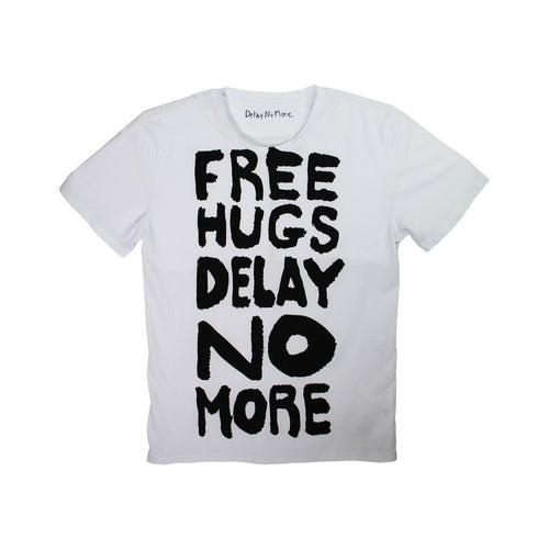 'Delay No More Free Hugs' tee (white)