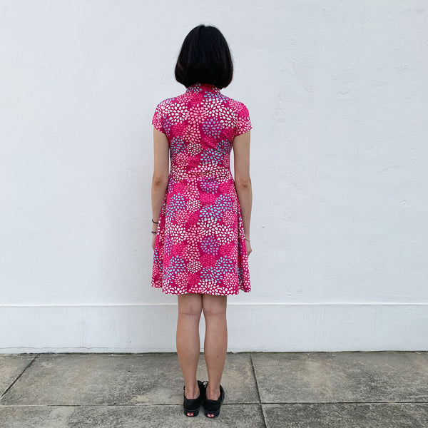 'Fuchsia Blossom' Printed Qipao Dress