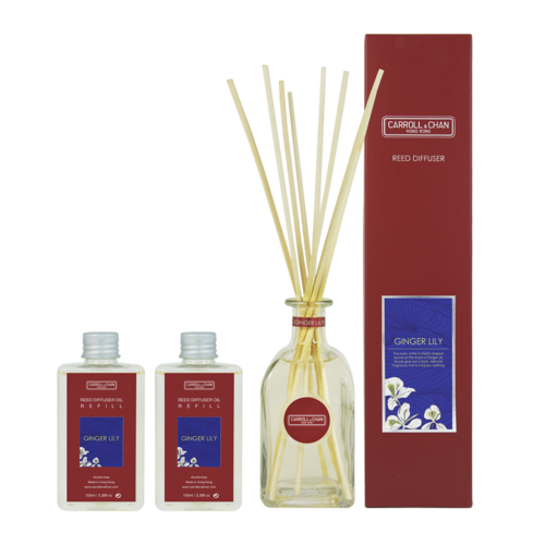 Ginger Lily 200ml Diffuser Set by Carroll & Chan
