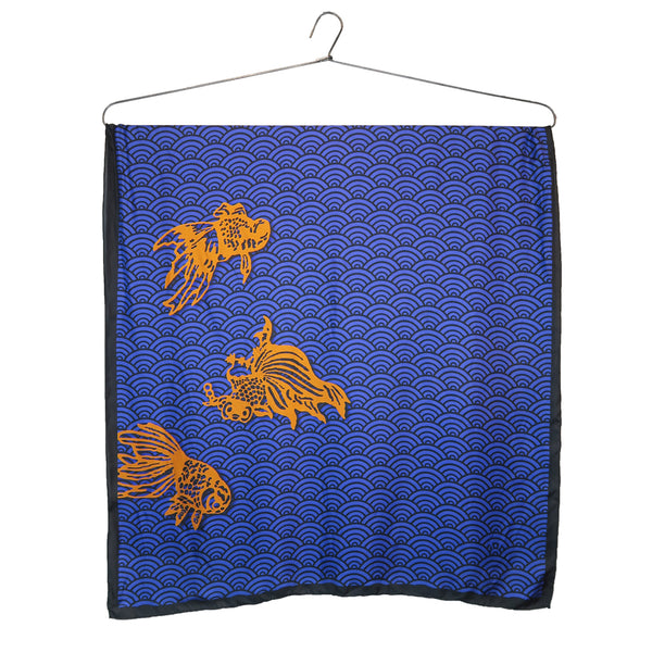 'Goldfish Waves' large silk scarf
