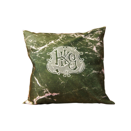 'HKG Marble' cushion cover (green, 45x45cm)