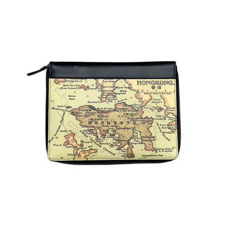 'Hong Kong Map' Leather Essential Flat Pouch