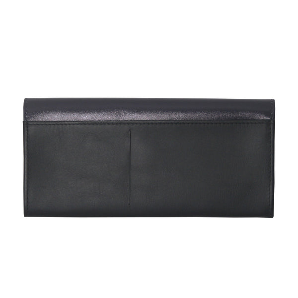'Hong Kong Skyline' printed leather long wallet with button closure