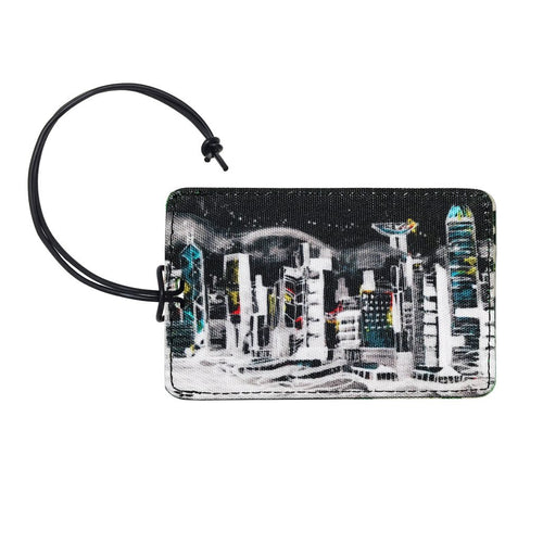 'Hong Kong Skyline' luggage tag with leather trim