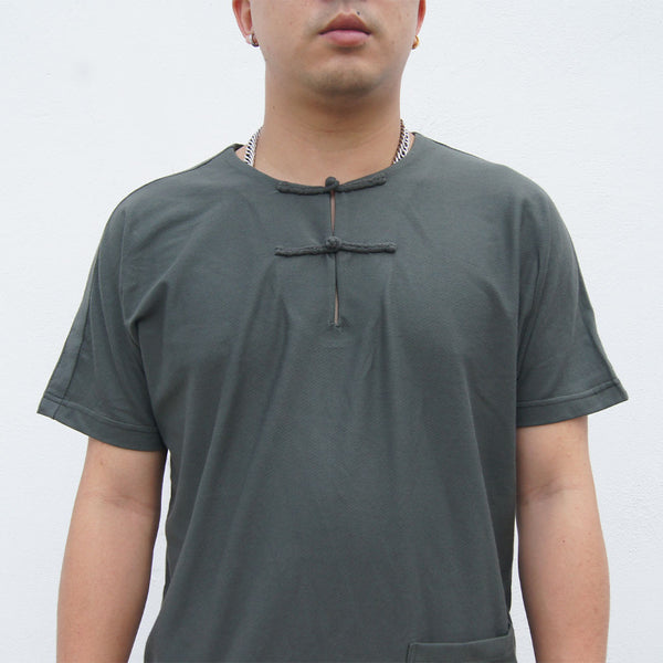 Handcrafted Chinese Buttons Top With Pocket, Army Green