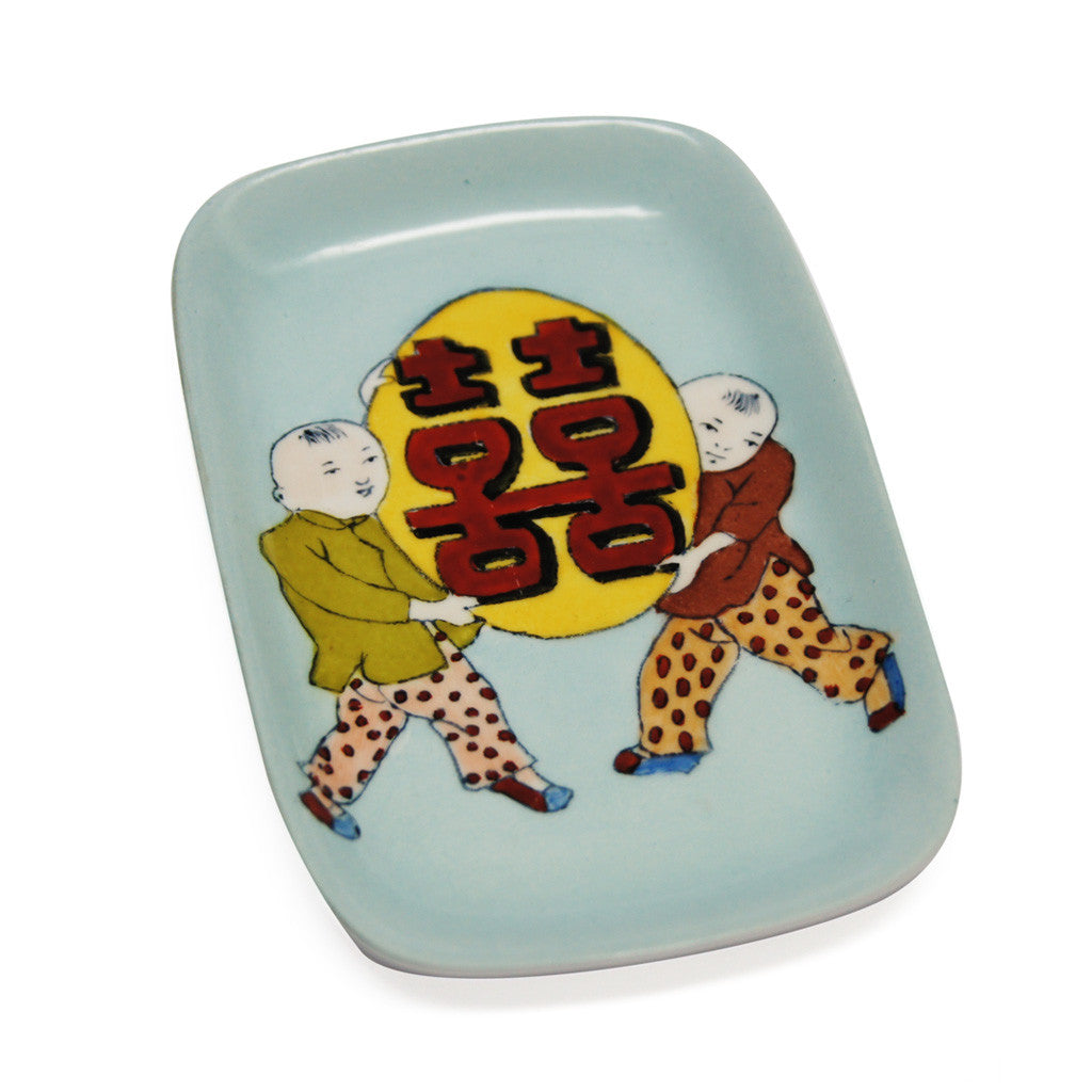 'Double Happiness Kids' handpainted soap dish - Goods of Desire