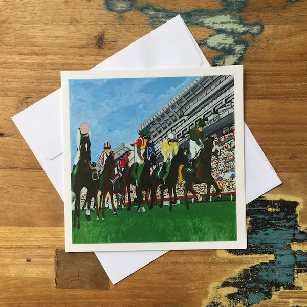 Horse Racing Greeting Card by Fabienne Veryepe