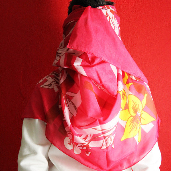 'Double Happiness Lattice' silk blend scarf (pink)