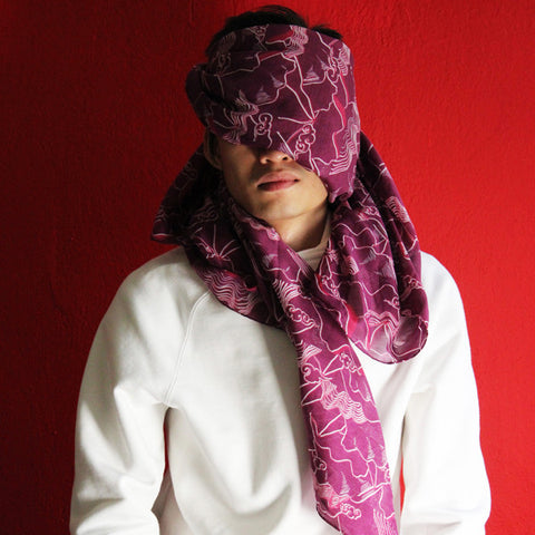 'Lion Rock' silk blend scarf (purple)